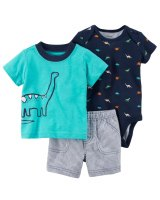 SET DE 3 PIEZAS DINO REMERA, BODIES Y SHORT marca CARTERS